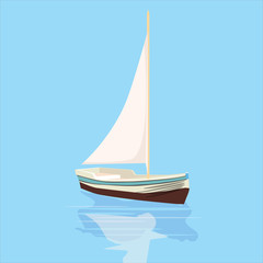 Sailboat, banner, vector illustration