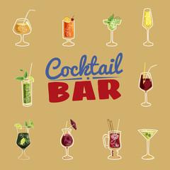 Cocktail bar, invitation, flyer, cartoon style, banner, vector illustration