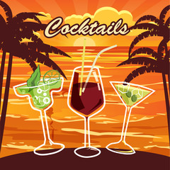 Cocktail bar, invitation, flyer, cartoon style, banner, vector illustration