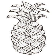 Adult coloring book page Pineapple. Whimsical line art for antistress coloring pages. Hand drawn brown outlined vector isolated illustration on white background. Henna mehendi, tattoo sketch