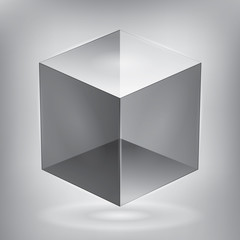 Vector reflection cube, transparent object, graphic abstraction design