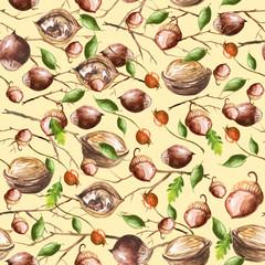 Vintage, watercolor pattern - a set of nuts, branch, berries, leaves, hazelnut, walnut.