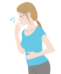 young woman and nausea, morning sickness, vector illustration