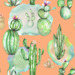 A seamless pattern with the watercolor various kinds of cactuses, hand drawn on a vintage orange background