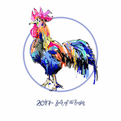 new year celebration chinese zodiac signs with decorative rooste