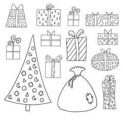 Set of cute cartoon giftboxes, presents and firtree isolated on