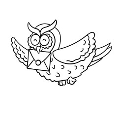 Cute cartoon wise flying post owl with mail