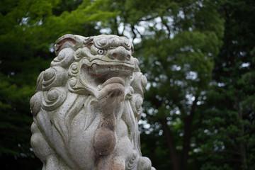 お寺の狛犬(寺社の守り神の石像)