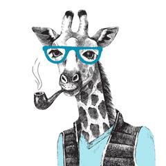 Fototapete - Hand drawn Illustration of giraffe hipster
