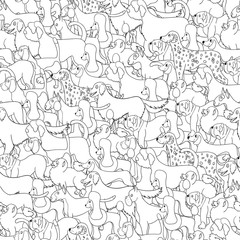 Cute seamless pattern with cartoon different dogs.