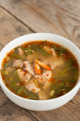 Hot and spicy soup pork cartilage with Thai herb.
