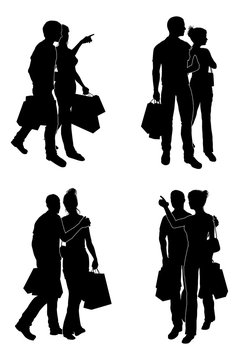 Shopping Couples Silhouettes