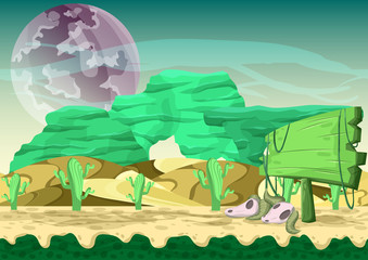 Seamless cartoon vector desert background with separated layers for game and animation, game design asset
