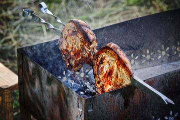 Meat on a skewer.
