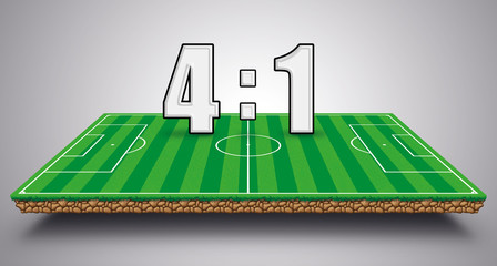 Spielstand 4:1 Fußball Fußballfeld