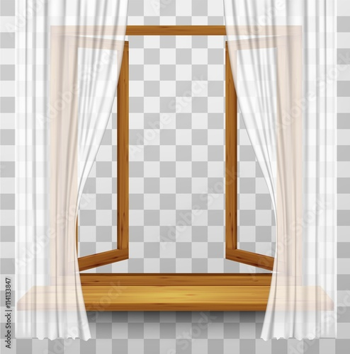 Wooden window frame with curtains on a transparent for Fenetre translation