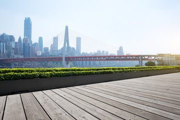 empty floor with cityscape and skyline of chongqing