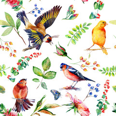 Seamless pattern with flowers, leaves, and birds. Watercolor flowers and birds. Vintage. Can be used for gift wrapping paper and other backgrounds.