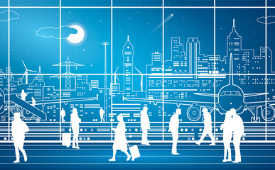 Airport terminal, airport panorama, aircraft on runway, airplane takeoff, people expect flight,  city infrastructure on background, vector design art