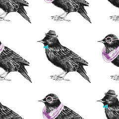 Fototapete - seamless pattern with dressed up starling
