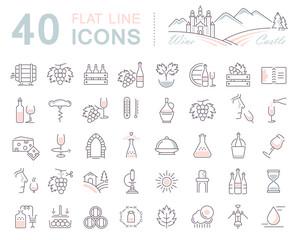 Set Vector Flat Line Icons Wine