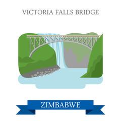 Victoria Falls Bridge Zimbabwe Flat historic vector illustration