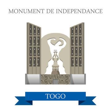 Monument de Independance Togo Flat historic vector illustration