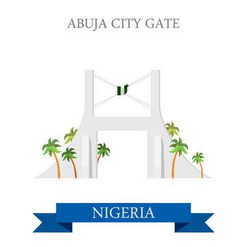 Abuja City Gate Nigeria Flat historic vector illustration