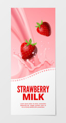Milk vector illustration Business strawberry isolated background