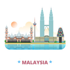 Malaysia country design template Flat cartoon style web vector