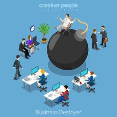 Isometric business bomb destroy man flat 3d isometry vector