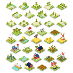 Flat 3d isometric set infographics farm object tool equipment