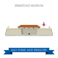 Sebastiao Museum SAO Tome and Principe Flat vector illustration