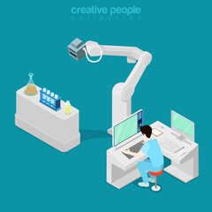 Isometric medical hospital computer doctor Flat 3d vector