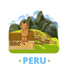Peru country design template Flat cartoon style web vector