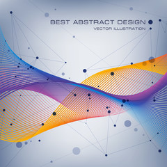 Abstraction color wave background, abstract composition of lines, waves and dots, vector design background