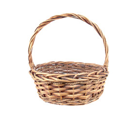 Wicker rattan basket isolated on white background.Old rattan bas