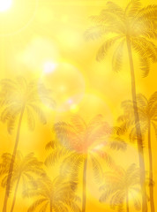 Summer orange background with palms and sun