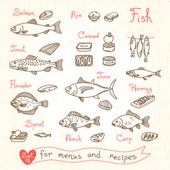 Set drawings of fish for design menus, recipes and packing. Trout, herring, sprat, flounder, perch, carp, tuna, salmon, roe, canned .