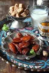 Ramadan food: Ripe dates, green tea and fermented milk drink
