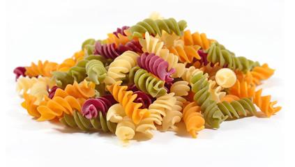 Heap of colored uncooked italian pasta fusilli on a white
