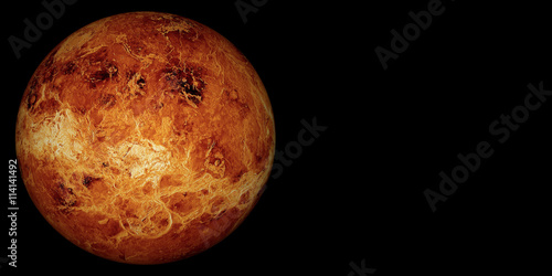 Fototapete 3D render the planet Venus on a black background, high resolution.