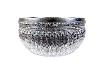 Old silver bowl isolated on white background.Silver bowl with Th