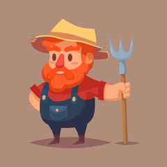 Funny cartoon farmer character Vector clip art illustration