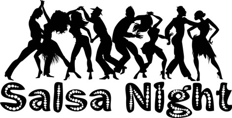 Wall Mural - Salsa nigh black vector silhouette with dancing couples, no white objects, EPS 8