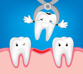 Teeth treatment and care.  Illustrations for children dentistry and kids about toothache, care and treatment. Tooth dental extraction, removal of tooth.