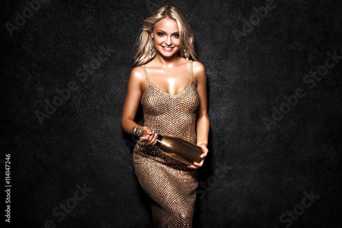 021f252cd0 Beautiful sexy blonde woman on black background