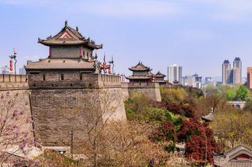 Foto op Textielframe Xian Denkmalgeschützte historische Stadtmauer der alten Kaiserstadt Xi'an