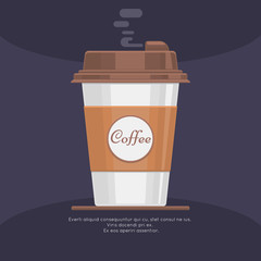 Disposable takeaway paper coffee cup in flat vector style. Coffee in paper cup and beverage latte or coffee takeaway illustration
