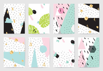 Modern creative abstract cards set with textures.